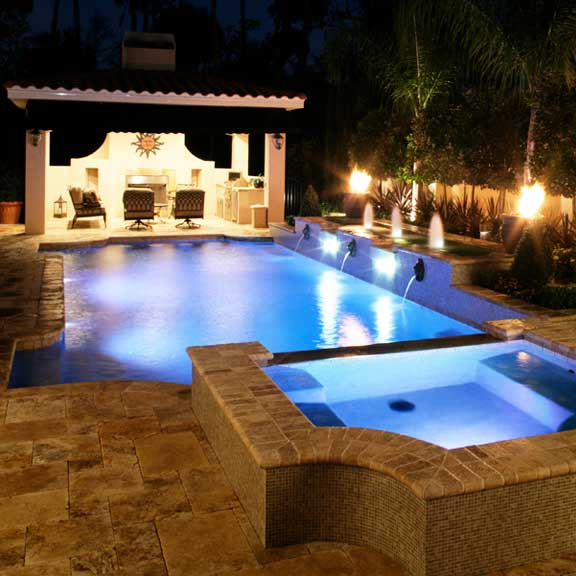 arc and tangent linear pool design with fountain fire
