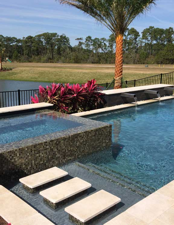 linear pool design, metal water features